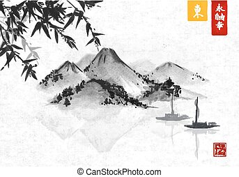 Bamboo, fishing boat and island with mountains. Traditional...