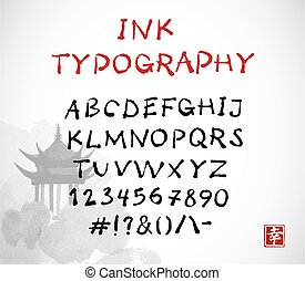 Hand-drawn vector ink sketch font on white background with pagoda temple. Contains hieroglyph - happiness. Oriental style