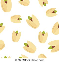 Seamless pattern pistachio nuts. Isolated on white...