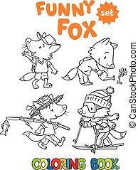Funny fox coloring book set - Coloring book set of funny...