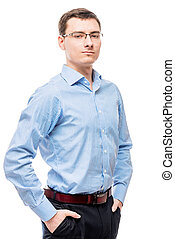 Successful male with glasses and blue shirt on white background