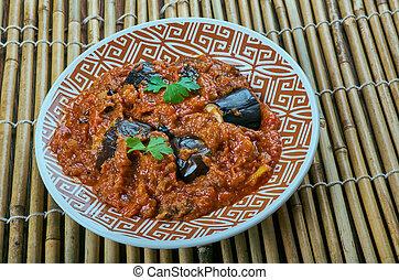 Eggplant gravy . Brinjal Curry - Ennai kathirikai -...