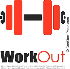 Fitness workout vector logo on white background