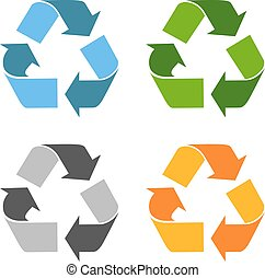 Recycled eco vector icons set