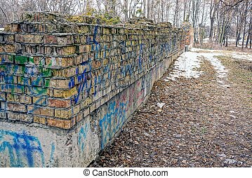 Ruins of an old brick house - Old ruins and foundations in...