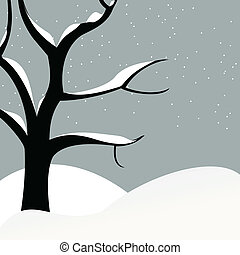 Alone standing tree covers with snow. A vector illustration