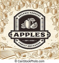 Retro apples label on harvest landscape