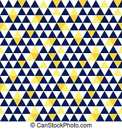 Vector navy blue and yellow triangle texture seamless repeat...