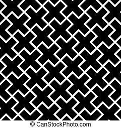 contorno, Cruces, patrón, Extracto,  seamless, Ilustración, Plano de fondo,  vector, negro, geométrico, blanco, mosaico