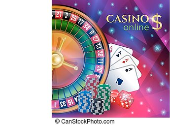 Casino banner with gambling elements. - Casino banner with...