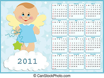 Baby's calendar for 2011 - Baby's calendar for year 2011