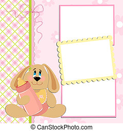 Blank template for greetings card or photo frame in pink...