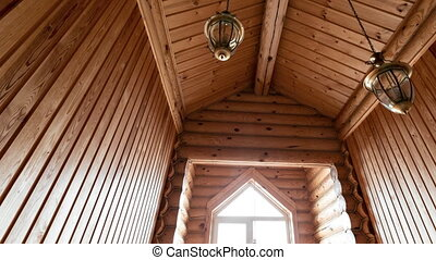 The bathroom in a rustic log cabin, in the mountains. with a...