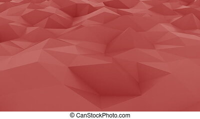 Glossy red polygonal motion background. Seamless loop 4K...