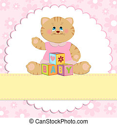 Baby's greetings card with kitty in pink colors