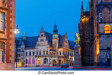 Bremen. The central market square. Town Hall. - Old medieval...