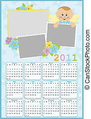 Babys calendar for 2011 - Babys calendar for year 2011 with...