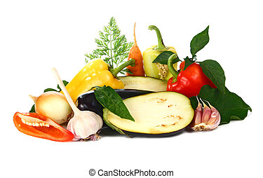 fresh and vitamins vegetables isolated on white background