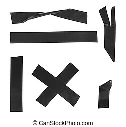 Set of black electrical tape on a white background, isolated
