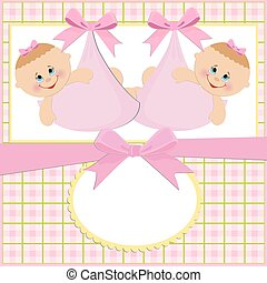 Baby greetings card with twins girls