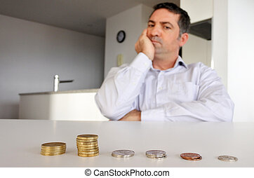 Man having financial problems - Man father (age 40 - 50)...