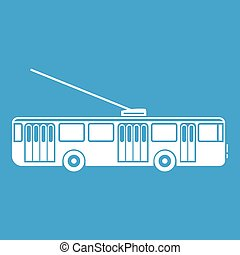 Trolleybus icon white isolated on blue background vector...