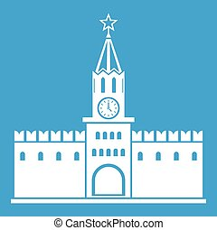 Russian kremlin icon white isolated on blue background...