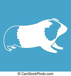 Hamster icon white isolated on blue background vector...