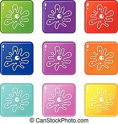 Amoeba set 9 - Amoeba icons of 9 color set isolated vector...
