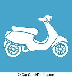 Vespa scooter icon white isolated on blue background vector...