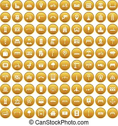 100 city icons set gold - 100 city icons set in gold circle...