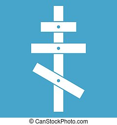 Orthodox cross icon white isolated on blue background vector...