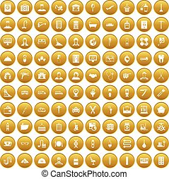 100 craft icons set gold - 100 craft icons set in gold...