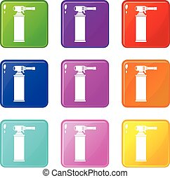 Gas cylinder set 9 - Gas cylinder icons of 9 color set...