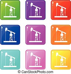 Oil pump set 9 - Oil pump icons of 9 color set isolated...