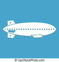 Dirigible balloon icon white isolated on blue background...