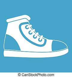 Athletic shoe icon white isolated on blue background vector...