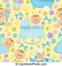Seamless background with babies (EPS10) - Seamless...