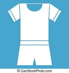 Sport shirt and shorts icon white isolated on blue...