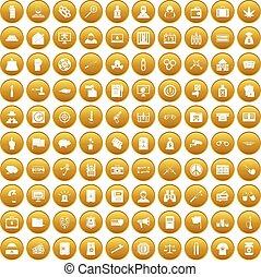 100 criminal offence icons set gold - 100 criminal offence...