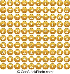 100 earth icons set gold