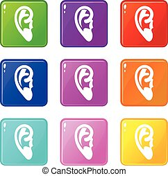 Ear set 9 - Ear icons of 9 color set isolated vector...