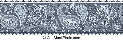 paisley border pattern in vector format, individual objects...