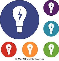 Light bulb with lightning inside icons set
