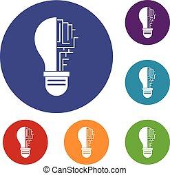 Circuit board inside light bulb icons set