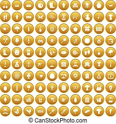 100 farming icons set gold - 100 farming icons set in gold...