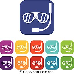 Swimming mask icons set vector illustration in flat style in...