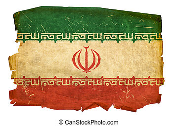 Iran Flag old, isolated on white background