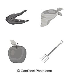 animal, vegetarianism and other monochrome icon in cartoon...
