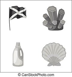 travel, cleaning and other monochrome icon in cartoon...
